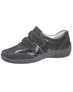 Waldlaufer hesna Velcro Shoe in Black Suede and Croc Combo